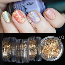 12 x Nail Art Folie Gold & Silber Dekoration Set Nagel Glitter Sticker