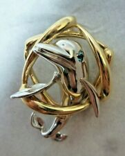 14K White and Yellow Gold 3-D Dolphin with Sapphire Eyes Pendant 12.5 gr
