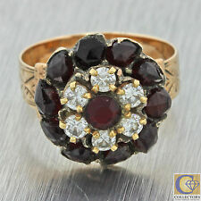 1880s Antique Victorian 14k Solid Yellow Gold Rose Cut Garnet Diamond Ring