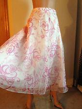 DAVID'S BRIDAL FLORAL ROSE PINK & WHITE SHEER TULLE FLIRTY FLARED SKIRT 22 NEW