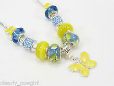 #5882 - BLUE YELLOW BUTTERFLY CHARM GLASS BEAD NECKLACE -WOW!