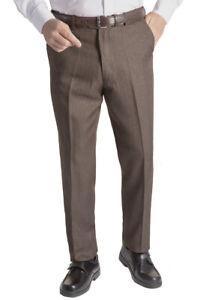 Mens Tweed Effect Herringbone Comfort Waist Flat Front Trouser Waist 32-50