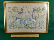 VINTAGE Lady and the Unicorn Medieval Tapestry Hand Embroidery Gilded frame