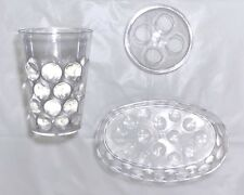 BATHROOM Clear Dots Bubbles 2 Pc SET Toothbrush Holder & Soap Dispenser Tray