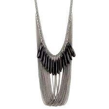 RETRO Vintage Black Tassel Kitsch Quirky Lagenlook Fashion Statement Necklace