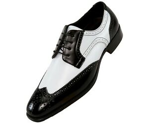 Bolano Mens Two Tone Wing Tip Lace up Formal Oxford Dress Shoes