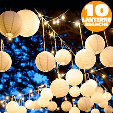 CATENA LUMINOSA 10 LANTERNE BIANCHE 20 LED SFERE ILLUMINAZIONE GIARDINO FESTE