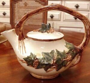 Vintage 1940s McCoy Pottery Floral Teapot Cream /& Open Sugar Set Matte White 21477