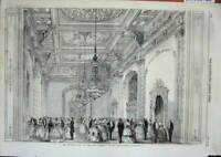 Old Antique Print 1859 Opening Ball New Assembly Rooms Manchester England 19th