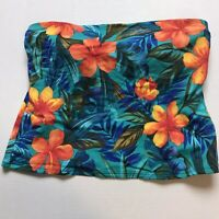 Caribbean Joe Colorful Tropical Floral Strapless Swim Tankini Top Size 12 A1077