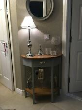 H80 W75 D30cm BESPOKE CONSOLE TABLE F&B MANOR HOUSE GREY REAL OAK TOP & SHELF