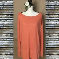FREE PEOPLE  Women Thermal Top Orange Scoop Neck Tunic Relaxed Long Sleeve Sz XS