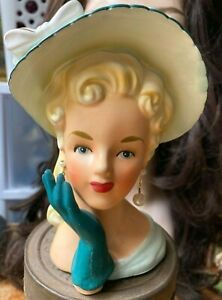 "Vintage Relpo 5.75"" Lady Scalloped Hat Bow Glove Earrings  Head Vase  K1406S"