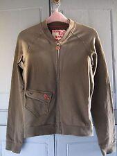 Miss Sixty Sweatshirt Zipped Top Khaki Green Size Small UK 8