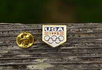 USA 1992 Olympic Rings Gold Tone Metal & Red White Blue Enamel Lapel Pin Pinback