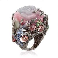 pfingstrosen - blume türkische naturstein silber - reben eidechse ring