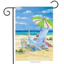 "5 O'Clock Beach Summer Garden Flag Beach Chair Drinks 12.5"" x 18"""