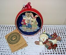 """Vintage Boyd Bears 4"""" Numbered Glass Ball Ornament in Box & 3 1/2"""" Chilly w/Box"""