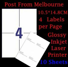 10 X A4 White Matte 4 per Page 2x2 Self Adhesive Sticker Mailing Address Labels