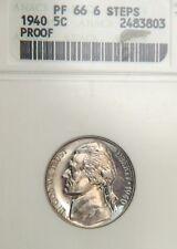 1940 Jefferson Nickel ANACS PR66 (D0420)