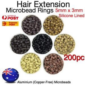 Hair Extension Micro Rings Beads 200 Silicone Lined MicroBeads 5mm x 3mm Links