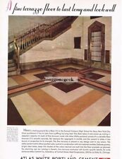 1934 Atlas White Portland Cement artistic terrazzo floor Home Decor Vtg Print Ad