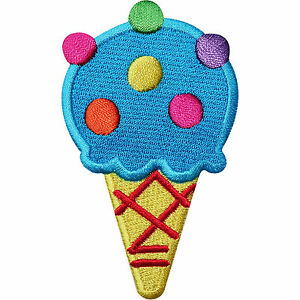 Ice Cream Cone Embroidered Iron / Sew On Patch Bag Shirt Jeans Jacket Cap Badge