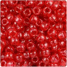 *3 FOR 2* 100 x Red Sparkle 9x6mm Barrel Shape Pony Highest Quality Beads