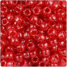 100 x Red Sparkle 9x6mm Barrel Shape Pony Top Quality Beads BUY 2 GET 1 FREE