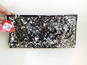 Julie Mollo Multi Confetti Clutch Coin Purse - NWT black silver metallic