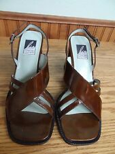 Charles Jourdan Patent leather brown slingback sandals, size 6.5 M