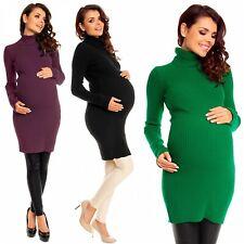 Zeta Ville Women's Maternity Stretch Warm Knit Bodycon Dress Polo Neck - 417c