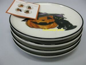 4 COBWEBS & CAULDRONS HALLOWEEN Appetizer Black Cat Dessert PLATES Pumpkins