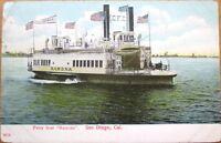 1909 San Diego, CA Postcard: Ferry Boat 'Ramona' - California - Riverboat