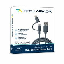 Tech Armor Dual Lightning / Micro USB Sync & Charge Cable - 6Ft - Space Gray