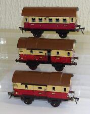 3x Fleischmann GFN Personenwagen: 400 und Packwagen 401 Spur 0 Blech