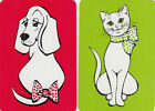 Genuine Swap / Playing Card- 2 SINGLE MINIATURES - CAT AND DOG - SPOTTY BOWS
