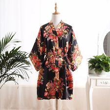 Silk Satin Floral bridesmaid robes gowns bride bath robe wedding kimono robes