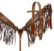 Showman Brown Filigree Crystal Bridle BRONZE FRINGE Breast Collar & Reins SET
