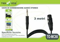 Cavo Di Connessione Stereo TeKone To-mc88 Jack 6,35mm XLR F Lunghezza 3mt hsb