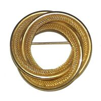 """Pin Brooch vintage Gold-tone knotted trio of circles Braided & Solid 1-1/2"""""""