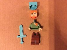 New Lego Minecraft Alex Minifigure with Helmet & Weapon from 21122 Unassembled