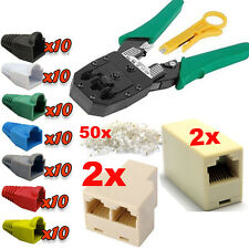 Network LAN RJ45 Cat 5e Cat6 Couplers Joiners Connectors Boots Crimping Tool Kit