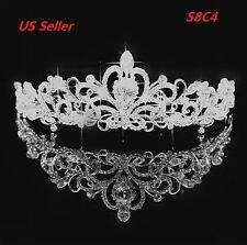 Bridal Princess Austrian Crystal Tiara Wedding Crown Veil Hair Accessory S8C4
