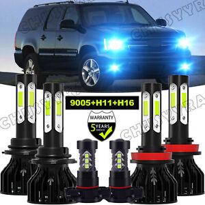 For Chevy Suburban Tahoe 2007-2014 8000K LED Headlight + Fog Light Bulbs Combo