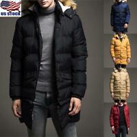 Men's Winter Warm Hooded Thick Padded Long Jacket Coat Zipper Parka Outwear US
