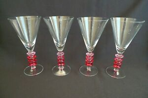 VINTAGE HAND BLOWN SET 4 RED PINK TWIST BUBBLE STEM MARTINI / COSMO GLASSES 14OZ
