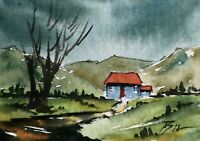 ACEO ATC original art miniature painting ' Country Living ' by Bill Lupton