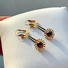 Vintage Gold Plated Sunburst Leverback Drop Dangle Earrings Ges Gesch
