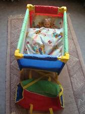 Puppen Reisebett Puppenbett mit Transporttasche  +Matratze + Kissen top Zustand!